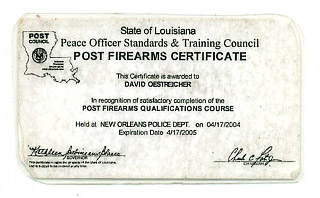 photo of oestreicher firearms id while serving as a new orleans police officer